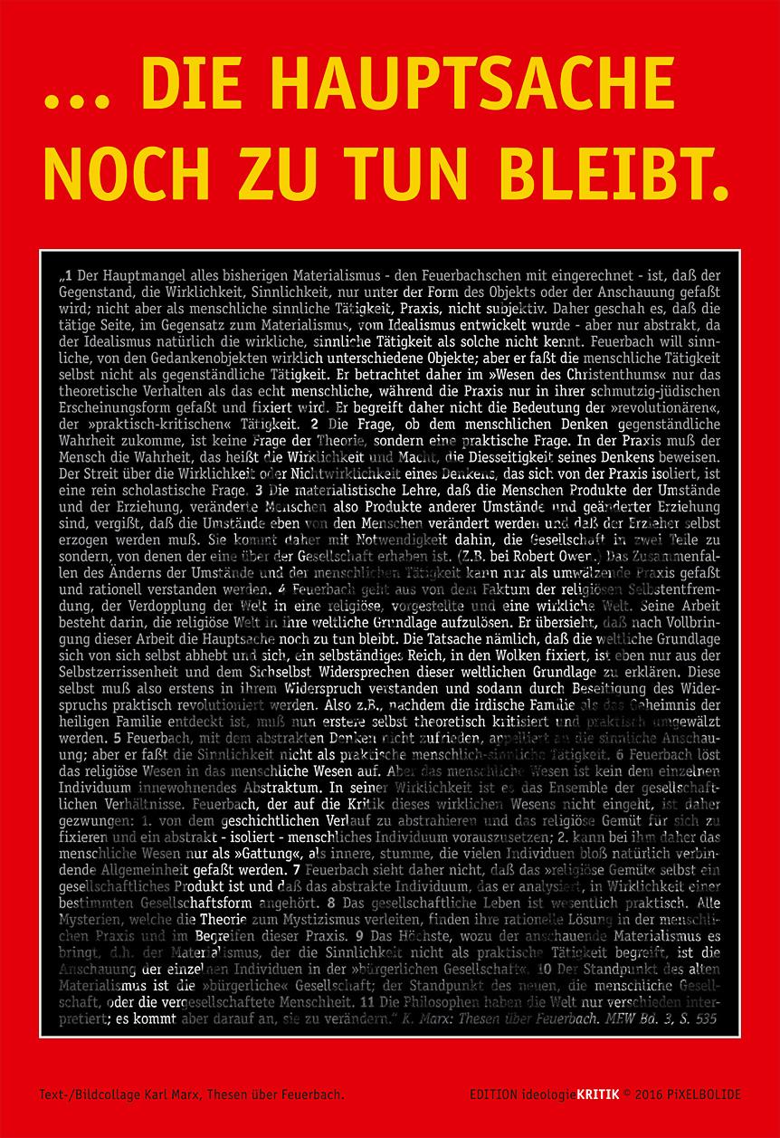 Text-/BIldcollage Karl Marx/Thesen über Feuerbach.